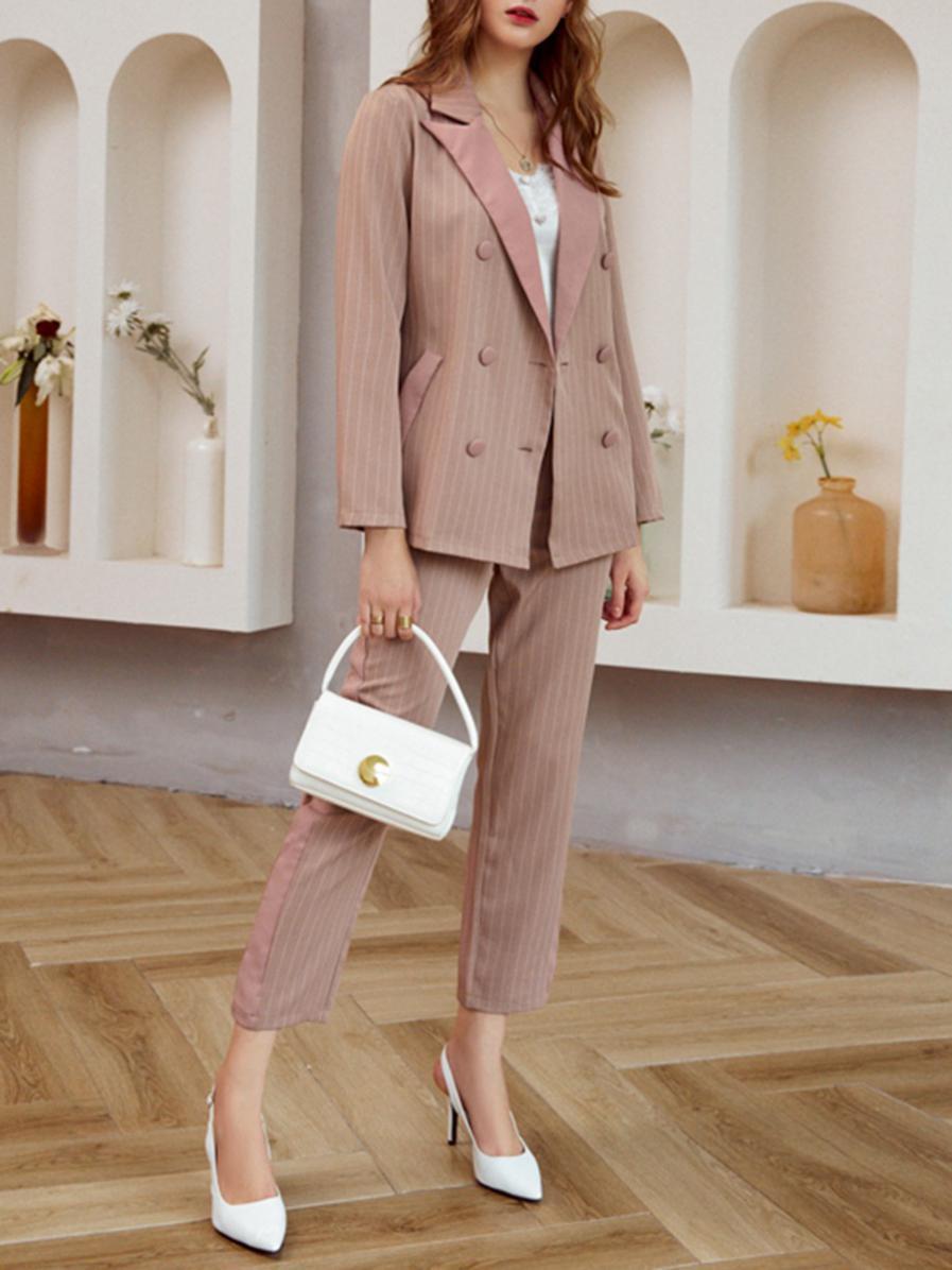 shestar wholesale 2-piece stripe double breasted blazer suit match trouser office set
