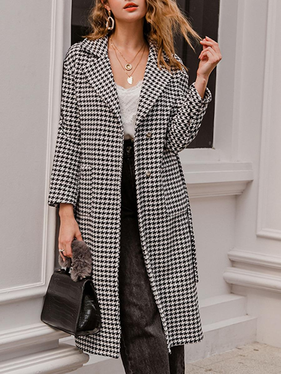 shestar wholesale notch collar houndstooth plaid longline tweed coat with belt