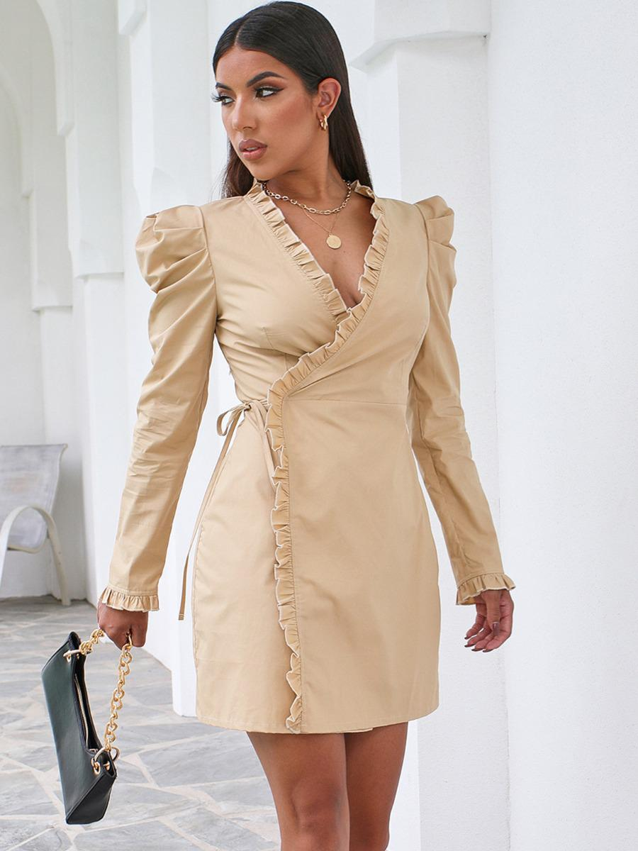 shestar wholesale ruched puff sleeve fungus trim tie up wrap dress