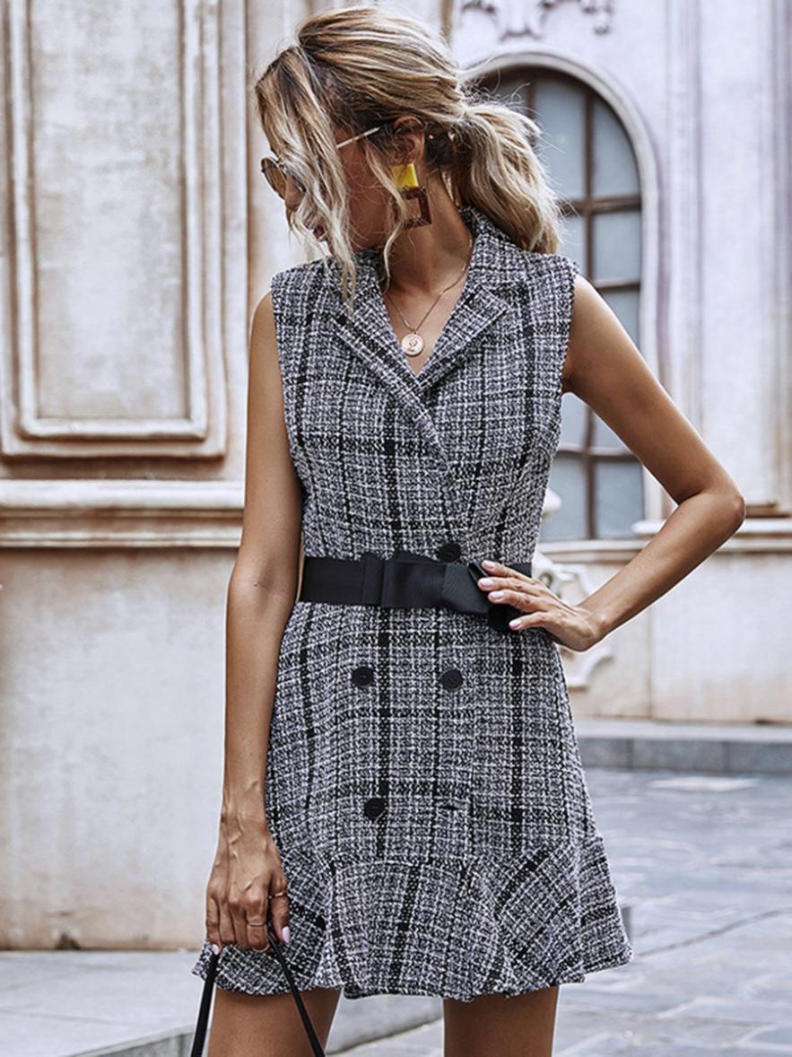 shestar wholesale ruffle hem houndstooth sleeveless blazer dress with belt